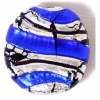 Glass Lamp Bead 22mm Round Disc Cobalt Blue/Silver
